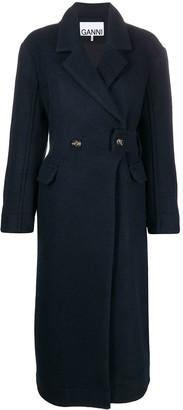 Ganni Double-Breasted Midi Coat