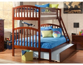 Atlantic Furniture Richland Bunk Bed Twin over Full with Twin Size Urban Trundle Bed in Walnut