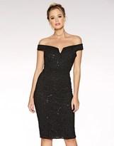 Quiz Sequin Bardot Midi Dress
