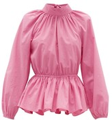 Rhode Resort Damien High-neck Open-back Cotton Blouse - Womens - Pink