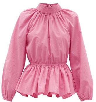 Rhode Resort Damien High-neck Open-back Cotton Blouse - Pink