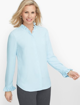 Talbots Ruffle Trim Blouse - Solid