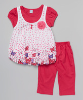 Fuchsia Polka Dot Layered Tunic & Pants - Infant Toddler & Girls