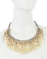 Deepa Gurnani Spiked Scalloped Necklace, Ivory