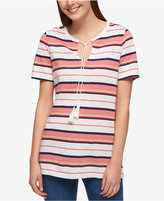 Tommy Hilfiger Striped Tassel Top, Only at Macy's