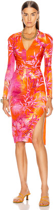 Versace Palms Long Sleeve Midi Dress in Fuchsia & Orange | FWRD