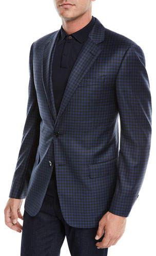 Emporio Armani Men's Box Check Wool Two-Button Jacket
