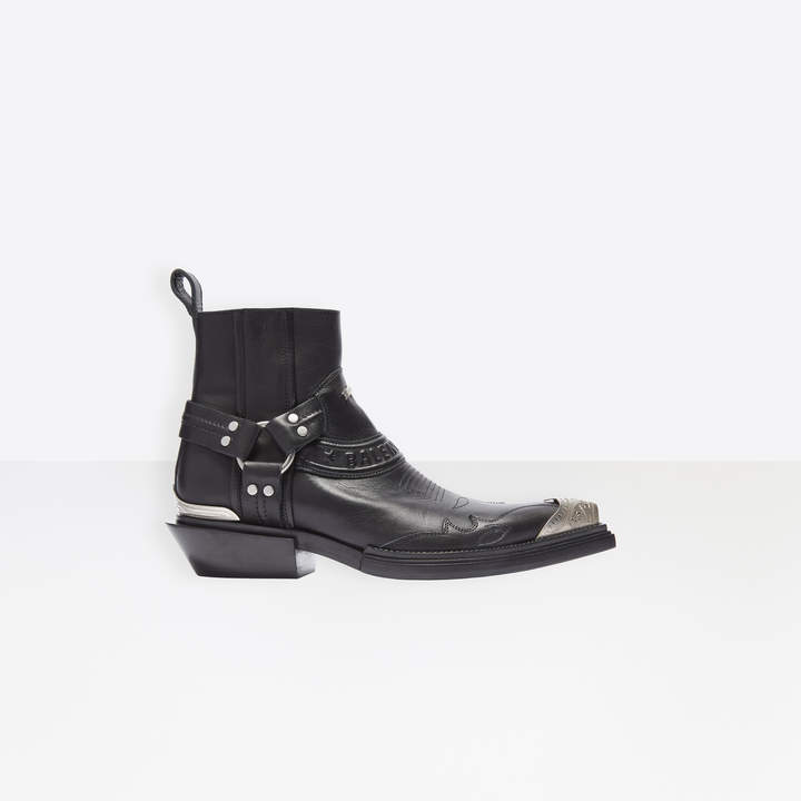 Balenciaga Santiag 40mm Harness Boots in black mat leather and aged palladium hardware