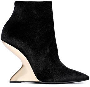 Salvatore Ferragamo Bolgheriv Velvet Ankle Boots