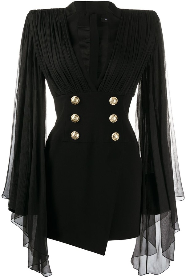 Balmain Sheer Sleeved Blazer Dress