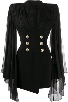 Balmain sheer sleeved blazer dress