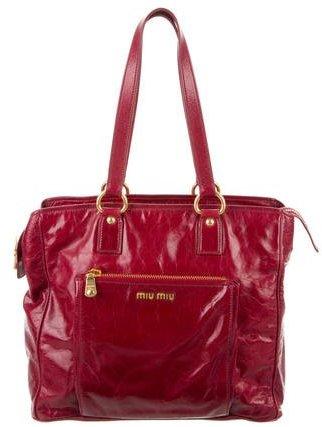 Miu Miu Distressed Leather Tote