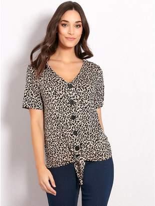 M&Co Leopard print button tie front top