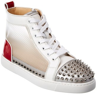 Christian Louboutin Sosoxy Spikes Donna Patent & Leather-Trim High-Top Sneaker