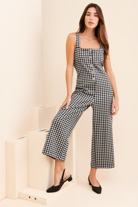 Maeve Gingham Button-Front Jumpsuit