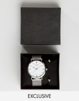 Reclaimed Vintage Mesh Strap Watch And Bangle Gift Set In Silver