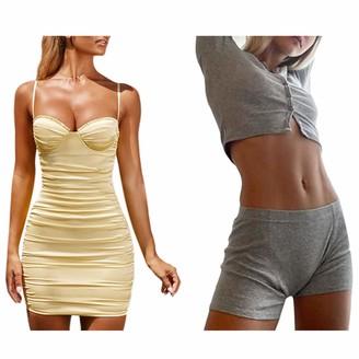 Sonline Satin Dress Women Spaghetti Straps Ruffles Sweetheart Dress Yellow M & Cropped Cardigans Women Knitted Crop Top L Gray