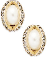 Charter Club Gold-Tone Imitation Pearl Pavé Stud Earrings, Only at Macy's