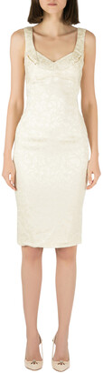 Zac Posen Ivory Floral Jacquard Satin Sleeveless Pencil Dress S