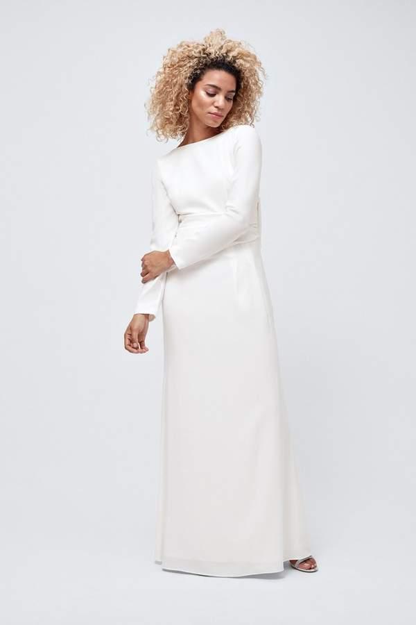 Coast Womens White Bow Back Long Sleeve Maxi Dress - White