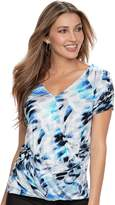 JLO by Jennifer Lopez Women's Crossover Ruched Tee
