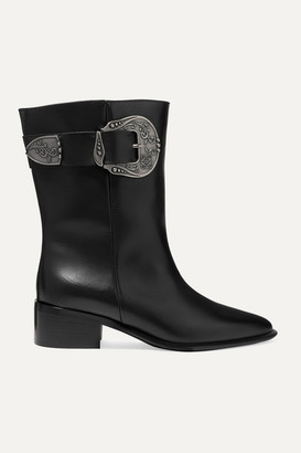 Loewe Buckled Leather Ankle Boots - Black