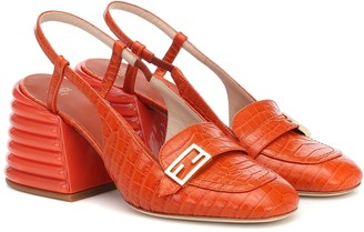 Fendi Promenade croc-effect slingback leather pumps