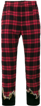 Haider Ackermann Embroidered Cotton Checked Trousers