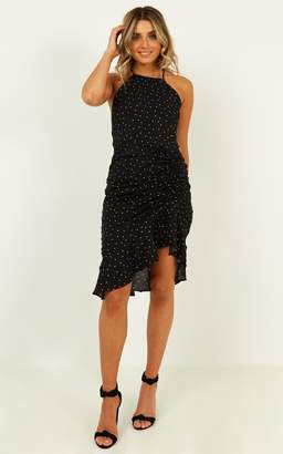 Showpo Paradise Cove dress in black spot - 8 (S) Hens Night