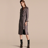 Burberry Printed Silk Wrap Trench Dress with Piping