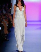 Cushnie et Ochs Deco-Beaded Sleeveless Pleated Gown, White