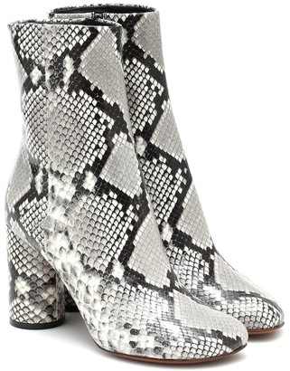 Vetements Snake-effect leather ankle boots