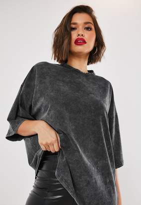 Missguided Petite Grey Drop Shoulder Oversized Washed Top