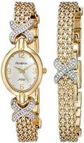 Swarovski Armitron Women's 75/3176SET Crystal Accented Gold-Tone Watch and Bracelet Set