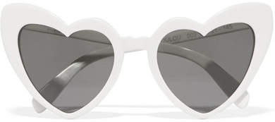 Saint Laurent Loulou Heart-shaped Acetate Sunglasses - White