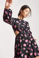 Forever 21 Fit and Flare Floral Cutout Mini Dress