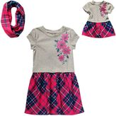 Dollie & Me Girls 4-14 Floral Plaid Drop-Waist Dress with Infinity Scarf