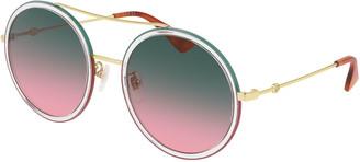 Gucci Crystal Acetate & Metal Round Sunglasses