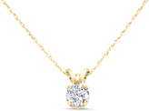 Ice 1/4 CT TW Diamond 14K Gold Solitaire Pendant Necklace (LM/I1-I2)