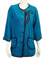 Bob Mackie Teal Fleece Embroidered Jacket