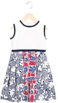 Oscar de la Renta Girls' Paisley Print Pleated Dress