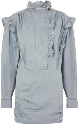 Etoile Isabel Marant Greta grey ruffle-trimmed denim mini dress