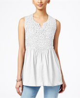 Style&Co. Style & Co. Empire-Waist Split-Neck Top, Created for Macy's