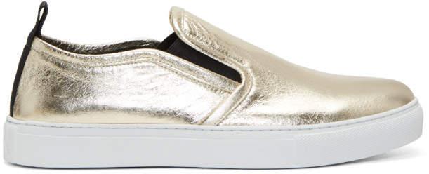 McQ Gold Metallic Chris Slip-On Sneakers