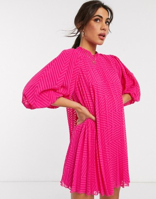 ASOS DESIGN pleated trapeze mini dress with puff sleeves in dobby in hot pink