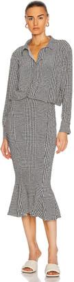 Norma Kamali Boyfriend Neck Shirt Fishtail Dress in Glenn Plaid | FWRD