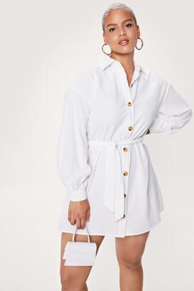 Nasty Gal Womens Plus Size Belted Mini Shirt Dress - White