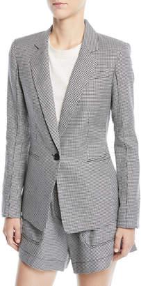 Derek Lam 10 Crosby Single-Button Check Linen-Blend Blazer