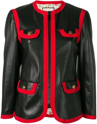 Gucci leather bon ton jacket