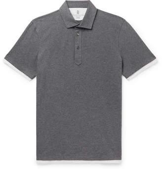 Brunello Cucinelli Slim-Fit Layered Melange Cotton-Jersey Polo Shirt